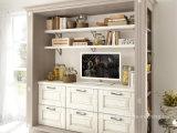 Gabinete de cozinha padrão da madeira contínua da alta qualidade branca moderna do projeto do abanador