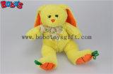 """"""" animal de lapin bourré par peluche de jaune de jouet de cadeau du bébé 9.5 avec les pieds Bos1156 de raccord en caoutchouc de broderie"""
