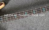 ボディベースギターを通したブロックのアワビの象眼細工Wの首