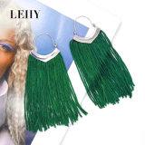 Orecchini di goccia su ordinazione di modo della nappa verde Silver-Tone della corda