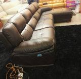 Kaffee-Farben-elektrischer Typ L Formrecliner-Sofa (9220)