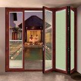 Guangzhou porte fenêtre en aluminium/accordéon/Porte patio avec des blinds de porte