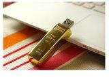 Mecanismo impulsor del flash del USB de la barra de oro con insignia de encargo