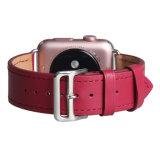 Faixa de relógio de pulso elegante em pele genuína, faixa de relógio de padrão personalizado para Apple assistir