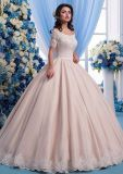 Spitze-schließen Brautballkleider Hülsen-rosafarbene Hochzeits-Kleider Lb52 kurz