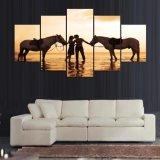 حصان حجر السّامة زوج يطبع نوع خيش حارّ صورة زيتيّة جدار فنية 5 قطعة بينيّة زخرفة صورة ألواح ملصقة لأنّ يعيش غرفة إطار [إيم-14]