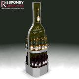 Cremagliera di visualizzazione del vino del basamento della bottiglia da birra del pavimento del metallo di Caldo-Vendita con l'indicatore luminoso del LED