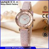 Relógio de senhoras ocasional de quartzo da cinta de couro do ODM da forma (Wy-094E)