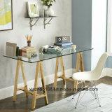 モデルフレームの金ガラスダイニングテーブル