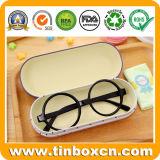 Caixas de estanho metálico com óculos de leitura de estampar interior de Pano