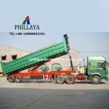 Baumaterial-Transport-hydraulischer LKW-halb Kipper, der Schlussteil ausgibt