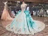 錯覚のレースのカラーの豪華な夜会服のウェディングドレス