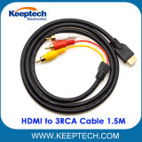 HDMI aan 3RCA Kabel 1.5m 5FT de Video-audio Kabel van de Convertor voor HDTV