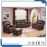 Projeto original do sofá da forma do arco do sofá de couro secional pequeno com otomano