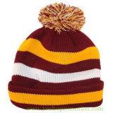 上の球が付いている100%のアクリルのストリップの袖口の帽子のジャカードによって編まれる帽子