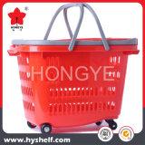 Cesta de compra plástica do supermercado do rolamento de quatro rodas