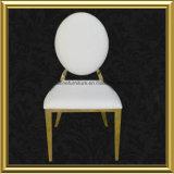Großhandelsmodernes Rose Goldovaler runde Rückseite foshan-weißer PU-lederner Edelstahl, der Bankett-Stuhl für Gaststätte-Hochzeit speist