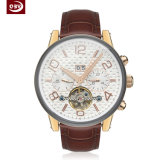 Form-Quarz-Leder-Edelstahl-Uhr für Männer