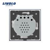 Interruptor estándar Vl-C701d-31/32 de la pared del amortiguador del panel del vidrio cristalino de la UE de Livolo