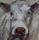 中国動物のキャンバスの芸術壁DeorのためのKnifeが塗る白い牛油絵
