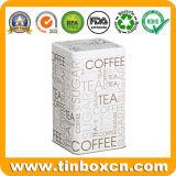 Vasilha hermética do estanho do metal quadrado alto para o chá do café do açúcar