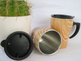 木製の上塗を施してあるステンレス鋼のコーヒー・マグ旅行コップ