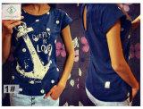 Usine de façon directe à manches courtes Tee-shirt en coton d'ancrage T-shirt femme