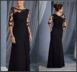 Luva de 3/4 grande noite vestidos de festa Black Lace Chiffon mãe da noiva vestido noivo LB18310