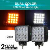 Commercio all'ingrosso 4.3 indicatore luminoso automatico fuori strada del lavoro di azionamento del quadrato LED del CREE bianco di colore giallo 3000K 6500K di colore del doppio di pollice