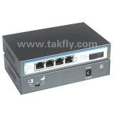 Modo único 10/100m switch poe de 4 portas de fibra única, SC20km