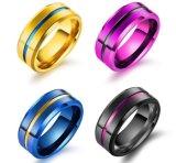 Clásico de la moda de la ranura de acero de titanio para hombres el anillo de 8mm de ancho, Negro/púrpura y oro/Color Azul de la banda de boda joyas Anillo de dedo Anel