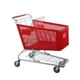 Caddie en plastique de couleur rouge de chariot à achats de supermarché