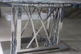 Haut de marbre et verre trempé Haut Table à manger de base en acier inoxydable