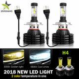 새로운 Design Car LED Light X4, Dual Color Headlamp 6500K 8000lm Fanless Canbus 없음 Error X4 Auto LED H7 Headlight H4