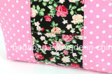 ピンクの円の点および花柄の小さく装飾的な袋(BDY-1709039)
