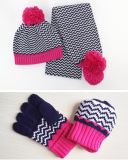 Do lenço unisex do Beanie da torção POM POM do cabo do inverno das meninas 3PC das crianças dos miúdos o chapéu longo do lenço da tampa da aleta das luvas ajustou-se (SK403S)
