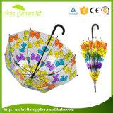 Зонтик автоматического открытого печатание цветка прозрачный прямой