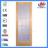 Única porta de madeira francesa moldada vidro da madeira (JHK-FD02-1)