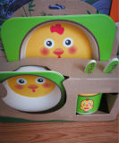 5PCS Kids Louça de colocar a placa Taça da Copa Talheres Dinnerware desenhos animados de fibra de bambu