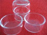 ふたが付いている円形の明確な水晶ペトリ皿
