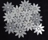 실내 벽 훈장을%s 중국 싼 Water-Jet 패턴 백색 회색 대리석 꽃 패턴 모자이크 타일