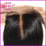 Fermetures en soie de lacet de cheveu cambodgien d'onde de corps premières avec la qualité