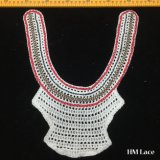 28*33cmの優雅な綿装身具Hm201の刺繍のレースファブリックのためのレースを整えているUの形によって編まれる女性が付いている多彩なカラーレースのトリム
