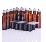 10ml leeren bernsteinfarbige wesentliches Öl-Glasrolle auf Flaschen-Phiolen mit Edelstahl-Metalrollen-Kugel für Duftstoff Aromatherapy