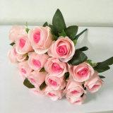 Rosa flor artificial decorativa de boda flor rosa de seda