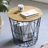 Multifuctional capot table en bois Panier métallique