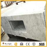 Professionnel personnalisé poli blanc italien Bianco Carrara de comptoirs en marbre, miroir de Tops