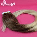 100%の人間の毛髪テープ毛の拡張皮のよこ糸