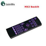 Teclado sin hilos puesto a contraluz Mx3 del ratón del aire para el rectángulo androide de la TV