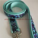 Tejido de color verde azulado de la correa de la correa del perro correa